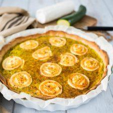 Quiche courgette-chèvre-origan (pâte maison à l'huile d'olive)