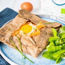 Galette de sarrasin truite-poireau-œuf