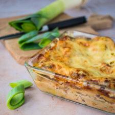 Lasagnes blanches à la dinde et aux poireaux