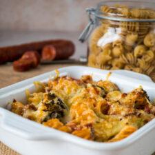 Gratin de pâtes au chorizo et brocoli