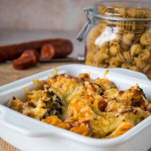 Gratin de pâtes au chorizo et brocoli - la cerise sur le maillot
